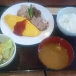 洋食家ロンシャン - 料理写真:日替りランチ ポークソテーとオムレツ