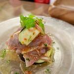 イタリアンバル キクバル - 厚切りカツオとみょうが・水ナスの洋風なめろう仕立て