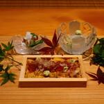 134474584 - 淡路島 由良の赤雲丹の箱、葉山の蛸、真子ガレイ