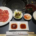 焼肉 せんりゅう - 和牛こだわりカルビ定食、お肉1.5倍¥1110+税