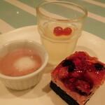 ビタースイーツ・ビュッフェ - スイーツ食べ放題(ゆずジュレ、白玉ぜんざい、桃のムース)