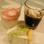 ビタースイーツ・ビュッフェ - スイーツ食べ放題(いちごのヨーグルト、カフェジュレ、八女抹茶レアチーズ)