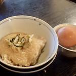 亀戸・養生料理 高の - 蕎麦にはとろろごはんと玉子付きです。