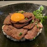 もうもう亭 - 炙り牛タン丼セット お肉1.5倍、お値段も1.5倍