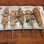 焼き鳥 まる - やきとり盛り合わせ 宮崎県銘柄鶏 さつま純然鶏