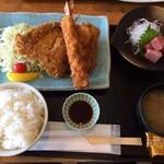 三崎「魚市場食堂」 - 地魚フライ&刺身定食