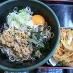 ゆで太郎 - 納豆冷やしそば&クーポンかき揚げ