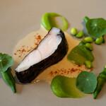 134625571 - メヌケ黒作り ベルモットのソース ズッキーニのピュレ