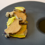 134625573 - 蒸してから揚げた地物(茨城県産)アワビ フィレンツェ茄子 コリンキー 肝ソース