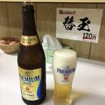 ラーメン東大 - ドリンク写真:米と合わせ推しでしたが、ビールにも抜群に合います。