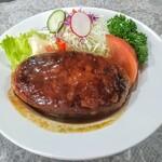 ホクシンケン食堂 - ハンバーグ単品!付け合わせが華やかで嬉しい!こんがり輝くハンバーグ!