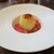 THE FUNATSUYA - 料理写真:桃太郎:まるごとの桃の中に、カスタードクリームとミルクアイスが入っています。 桃の下には サクサクのクッキー、表面は キャラメリゼされ、周囲には プラムとゼリーが敷かれています。     2020.08.10