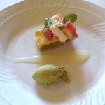 13467193 - 抹茶のアイスと、ピスタチオのタルトとイチジク