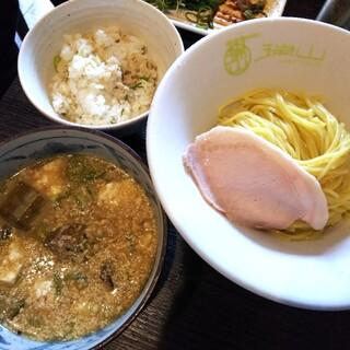 中華蕎麦 瑞山 - 料理写真:【限定】焼き鯖の冷や汁つけ蕎麦(鯖飯割り付き) 850円