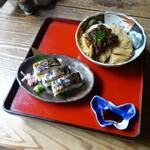 134682069 - 焼鯖そうめんと焼鯖寿司三貫