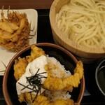 丸亀製麺 - (2020/7月)タルタルかしわ天丼、釜揚、小えびかき揚げミニ