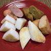 白謙 - 料理写真:手前左から 海葉(揚げかまぼこ) 紅生姜 カレー 真イカ チーズ