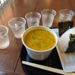 134736964 - つや姫おにぎり、最上川のモクズガニ汁、地酒5種