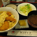 洋食サンライズ - かつ玉丼セット 650円