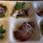 134786420 - 前菜:イベリコ豚スペアリブ、丹波地鶏の蒸し物、イベリコ豚トントロ焼豚、海月、イベリコ豚肩ロース焼豚、チシャトウ中華漬物