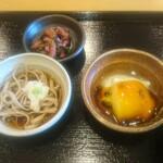 天ぷら やじま。 - 天ぷらセット       小鉢のお蕎麦、豆腐、漬物