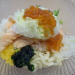 拉麺 イチバノナカ - サーモンとイクラの山葵和えそば 山葵かき氷Ver