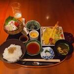 中村孝明YOKOHAMA - ♦︎刺身天麩羅膳 ¥2,750 (小鉢・造里・温物・天麩羅・食事) ※ご飯おかわりサービス