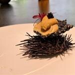 134855971 - 『おこげ』夏の紫海胆とおこげでプリンを表現した一皿♪