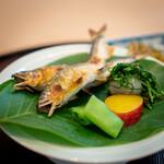 青草窠 - 琵琶湖の鮎 おかひじき、 らっきょう