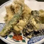 山喜寿司 - 穴子と夏野菜の天ぷら