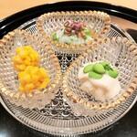 134910320 - とうもろこし、芋茎の白和え、長芋と枝豆