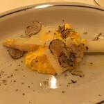 134922198 - ホワイトアスパラと卵ソース サマートリュフ添え