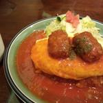 おしゃべりな亀 - コロッケオムライス (トマトソース)