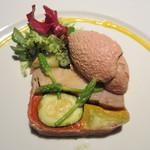 コポンノープ - 若鶏の燻製と初夏のお野菜のプレッセ  白レバーのムースを添えて