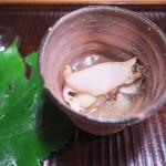 京天神 野口 - あわびと白ずいき。しょうがをきりッと効かせて。