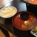 ホテル石庭 - 最初から白米を貰いましたが、この米、美味しい!
