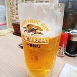 竹屋 - 生ビール大ジョッキ(飲みかけ)