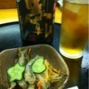 Hikobee - 料理写真:お通しと芋のウーロン割り(^∇^)