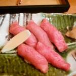 13501578 - 厳選黒毛和牛のあぶり寿司(にぎり)