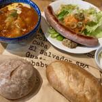 135013577 - 「パンセット」@1000+「ソーセージ」@280                       パンは、フランスパンと全粒粉パンを選択。