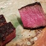 Yamaguchi - ⑧炭火焼き牛フィレ肉のステーキ ゆっくり2時間掛けて炭火で休ませながら火入れ 脂のりは穏やかでお肉本来の味わいがしっかり。 だが牛のエグみは感じません。 このバランスが素晴らしい。