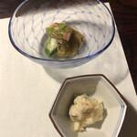 Yamazatoryouribudouya - 季節の小鉢:焼き茄子 卯の花