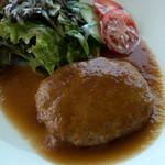 カフェキッサシーユー - 「豆腐入りハンバーグ和風ソース仕立てランチ」(980円)。フワフワのハンバーグ。和風ソースがとても美味しかったです。