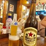 上野 アメ屋横丁 トロ函 - サッポロ大瓶  628円、オレンジ瓶 209円