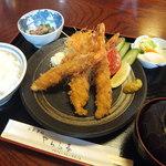 やわら亭 - ジャンボ海老フライ定食¥1580