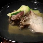 135122470 - 鮑と鮑肝豆腐の椀物