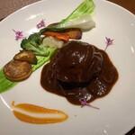 レストラン 中台 - 飯村牛と弓豚のハンバーグ・デミソース