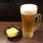 いざかや 一心 - 生ビールとお通し