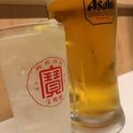 越前屋田中酒店 - パンチレモンサワーにハートランド生の男気ジョッキ