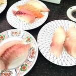 市場寿し - ホウボウ・金目鯛・白身3貫盛